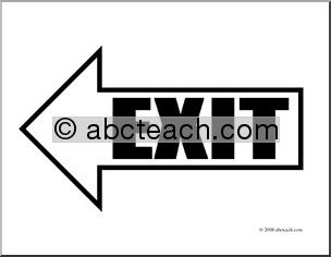 Clipart exit left arrow image freeuse library Clip Art: Arrow 01 Exit Left (coloring page) | abcteach image freeuse library