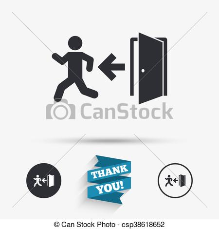 Clipart exit left arrow free Clipart Vector of Emergency exit sign icon. Door with left arrow ... free