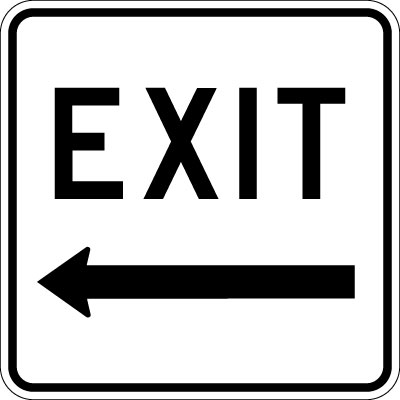Clipart exit left arrow banner royalty free stock Parking and Traffic Control Sign - Exit with Left Arrow ... banner royalty free stock