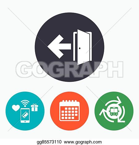 Clipart exit left arrow clipart black and white stock Vector Illustration - Emergency exit sign icon. door with left ... clipart black and white stock