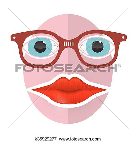 Clipart face with big mouth library Clip Art of Abstract Funky Face with Big Mouth and Glasses ... library