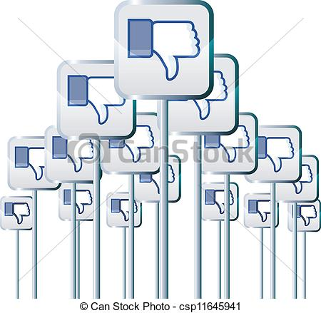 Clipart facebook dislike logo image library download EPS Vector of Negative Campaign - Vector illustration of facebook ... image library download