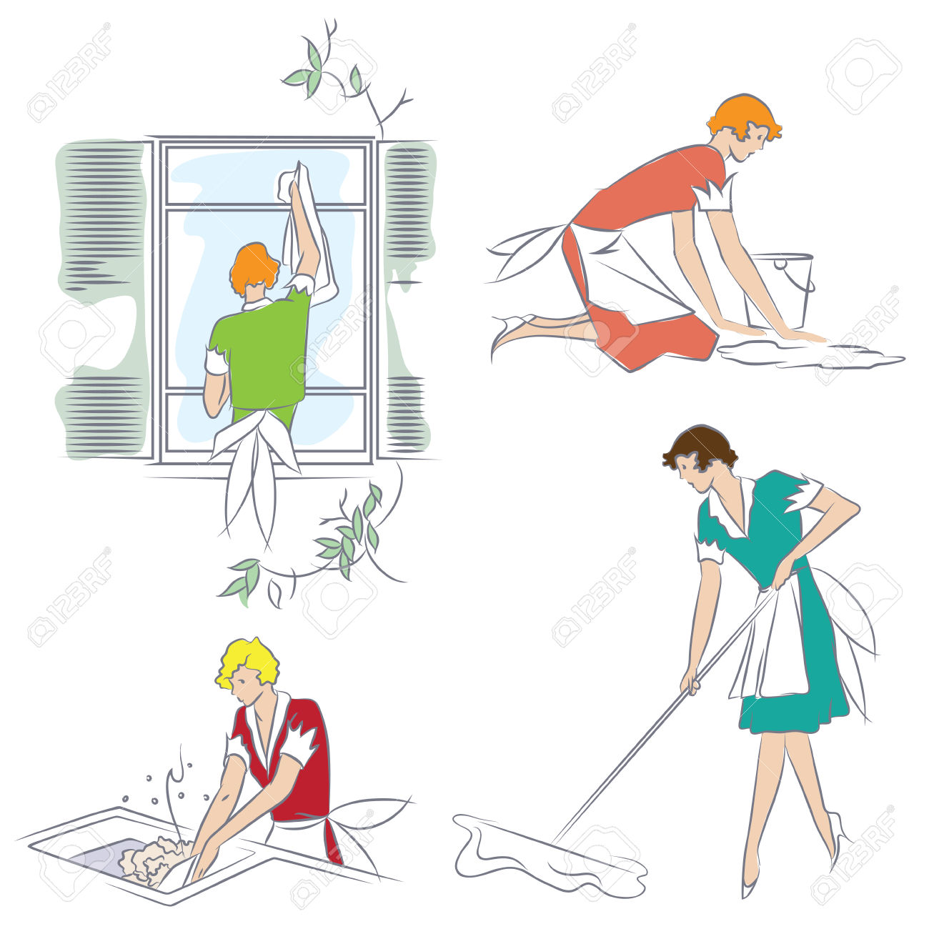 Clipart faire le menage clip art black and white Vector Stock Illustration. Girl Doing Housework In The Apartment ... clip art black and white