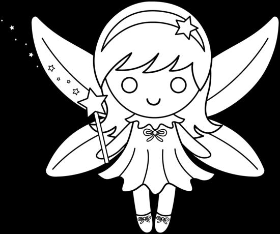 Clipart fairy printables vector transparent Cute Colorable Fairy Design - Free Clip Art vector transparent