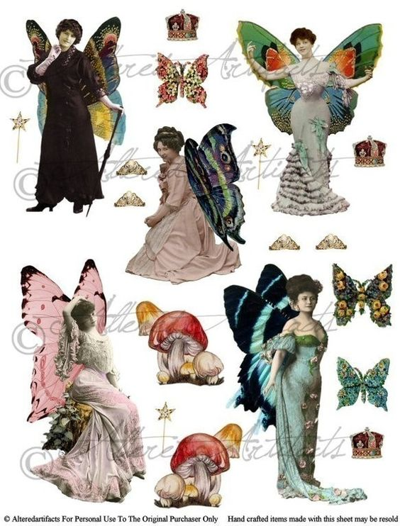 Clipart fairy printables clip transparent library Instain Download Victorian Fairies Digital Collage Sheet Fairy ... clip transparent library