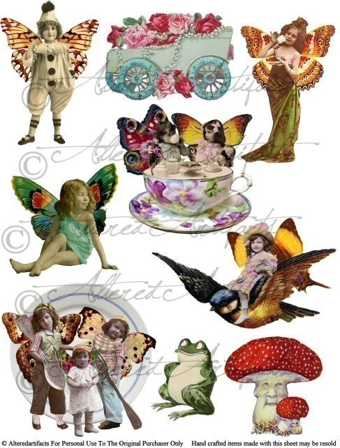 Clipart fairy printables svg royalty free Instant Download Fairyland Frolics Digital Altered Art Collage ... svg royalty free