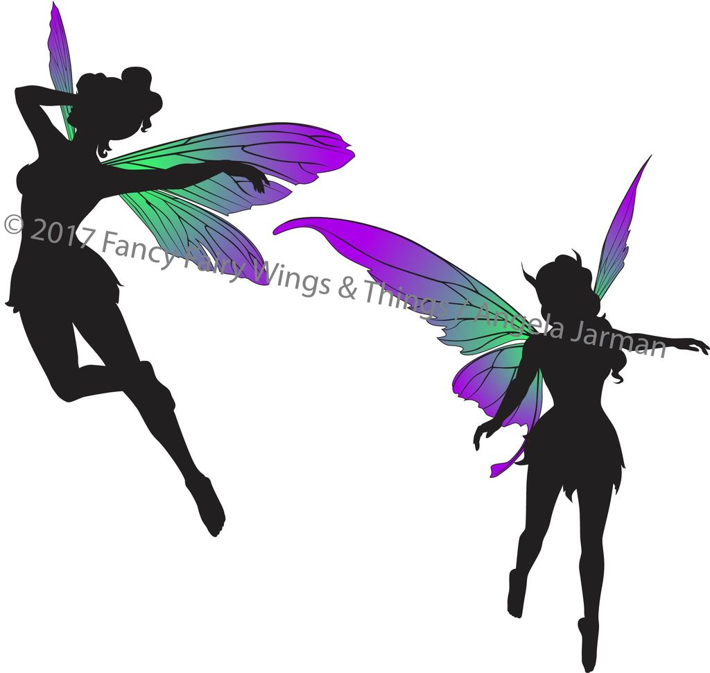 Clipart fairy wings svg royalty free download Flying Fairies Silhouettes Clip Art Vector Art - EPS and ai files svg royalty free download