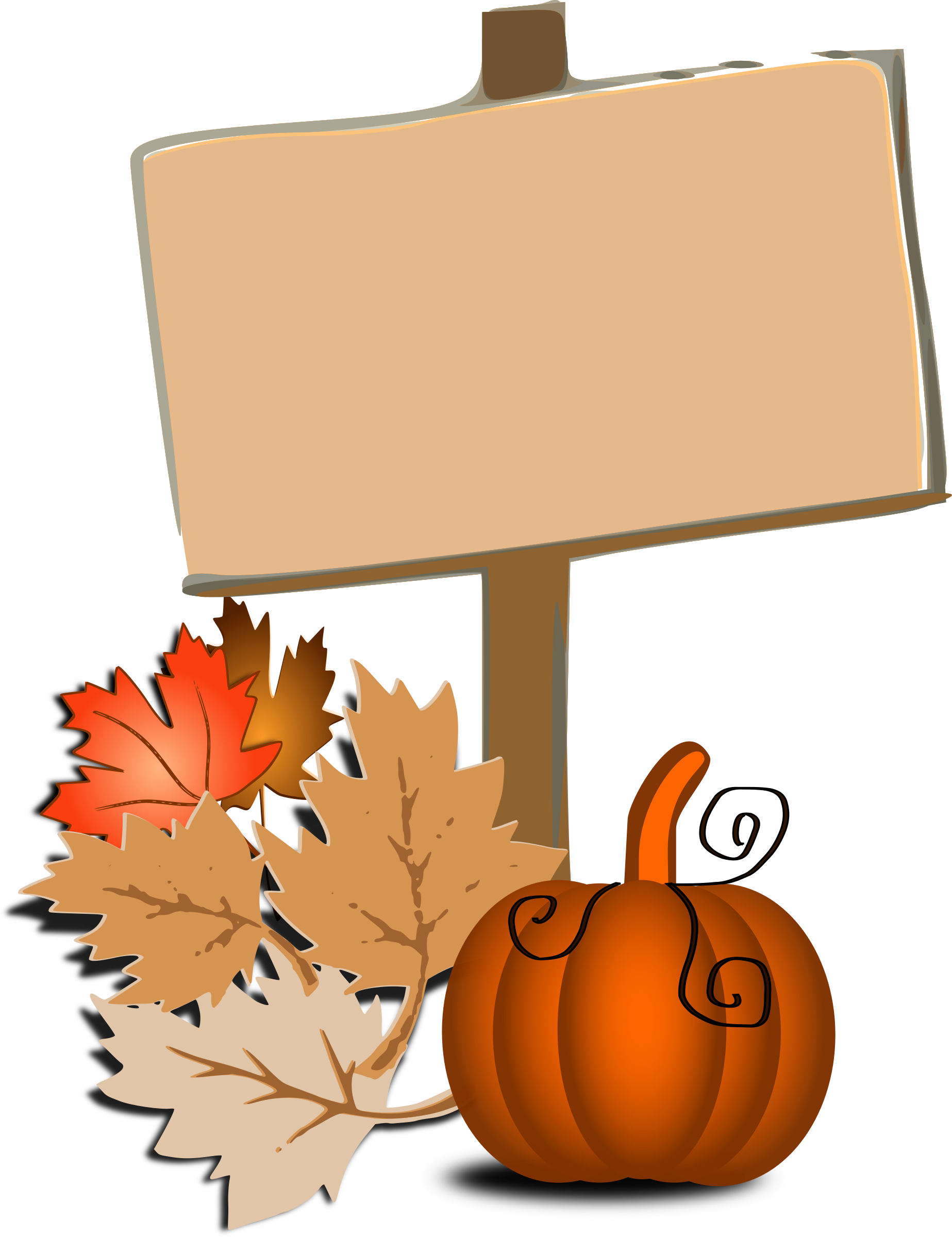 Pumpkin with leaves border clipart free jpg Clipart - Fall clip art jpg