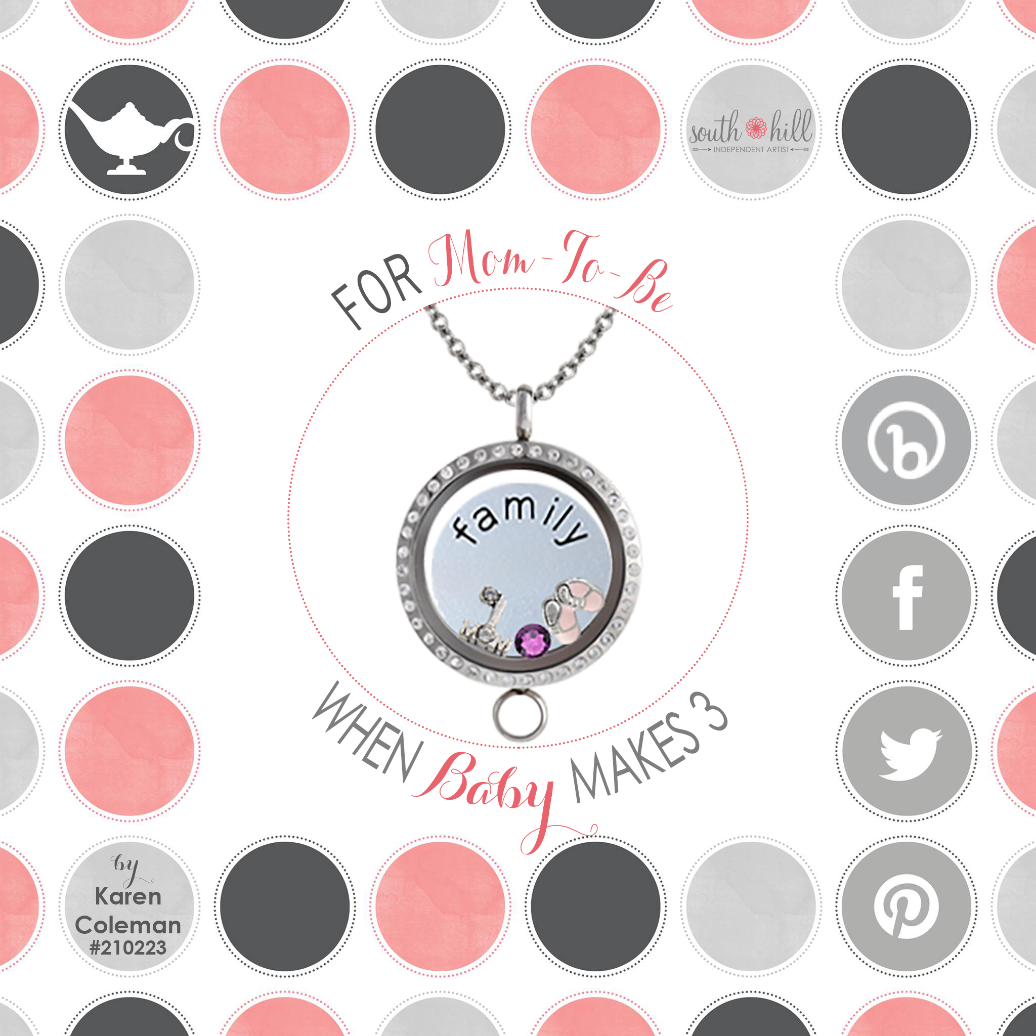 Clipart family 3 girls 1 boy clip black and white stock For Mom-to-be When Baby Makes 3 | Kaz Designs Lockets ... clip black and white stock