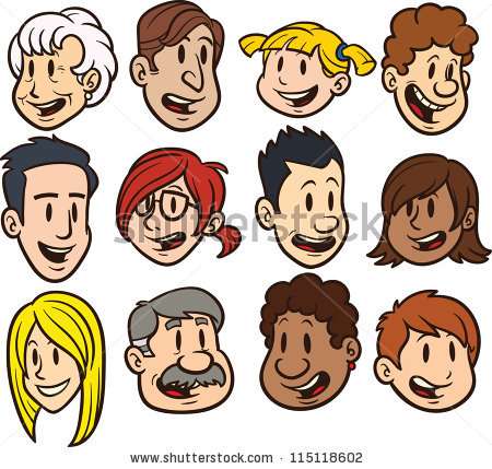 Clipart family 3 girls 1 boy vector royalty free stock Boy And Girl Cartoon Faces Stock Images, Royalty-Free Images ... vector royalty free stock
