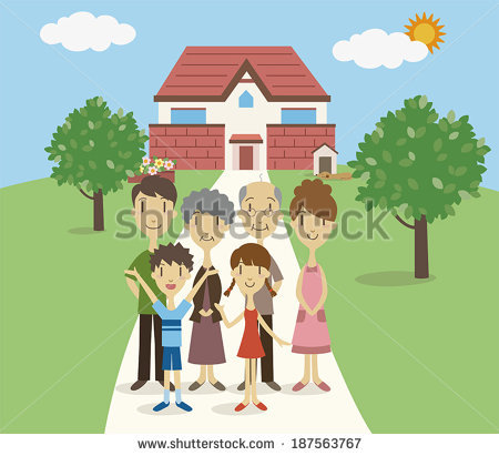 Clipart family 3 girls 1 boy clip art freeuse 3 Girls 1 Boy Standing Front Stock Vector 304081847 - Shutterstock clip art freeuse