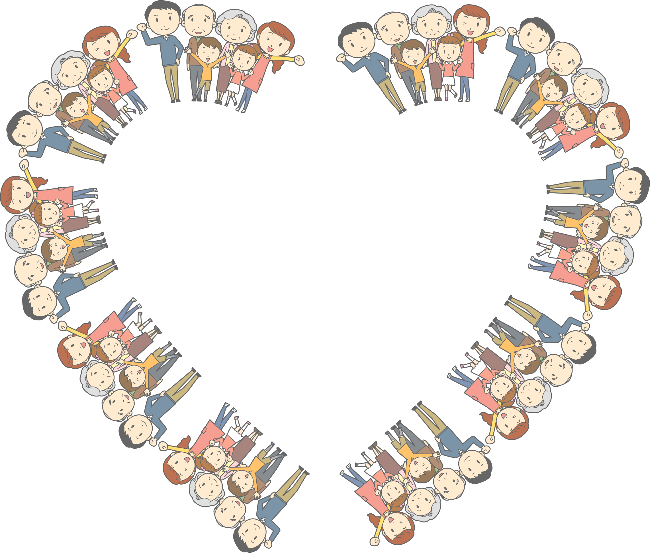 Clipart family heart graphic free library Clipart - MultiGenerational Family Heart Frame graphic free library