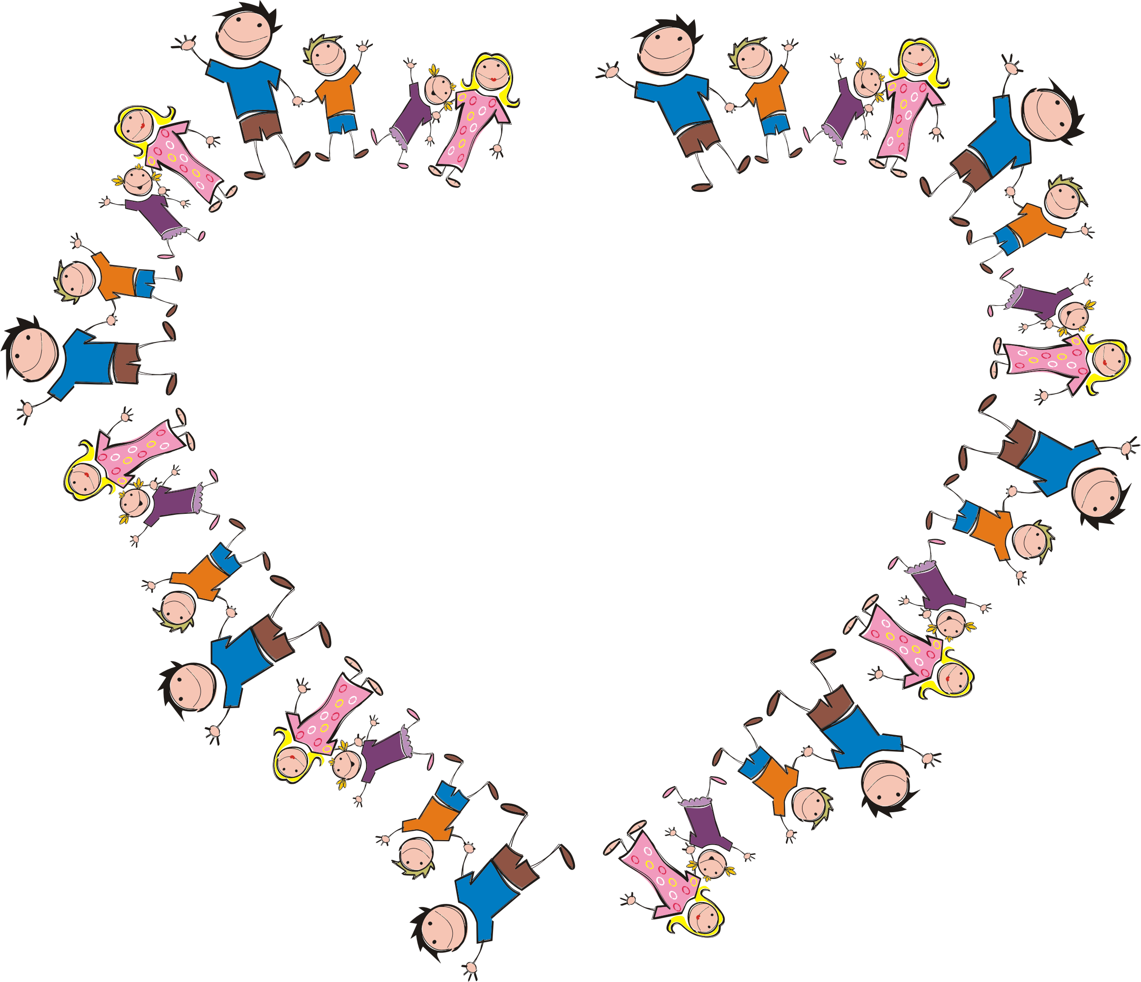 Clipart - Stick Figure Family Heart graphic black and white stock
