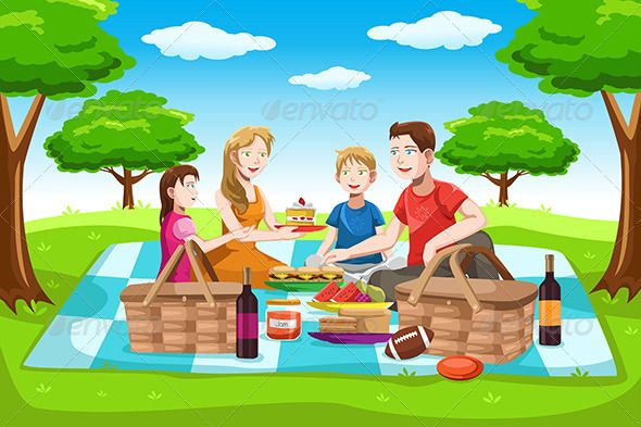 Family picnic clipart svg freeuse Family Picnic | GraphicRiver | for kids in 2019 | Picnic pictures ... svg freeuse