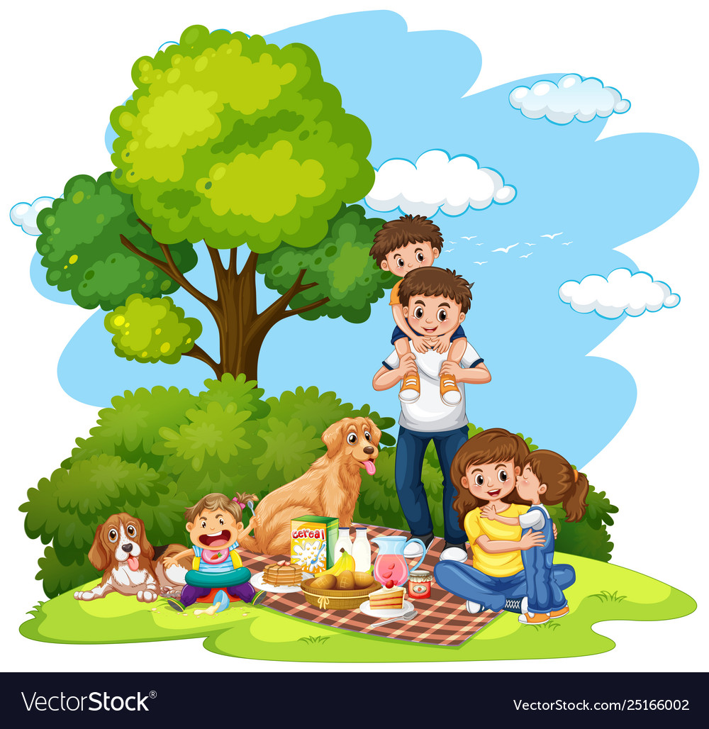 Family park clipart vector freeuse download A family picnic at park vector image vector freeuse download