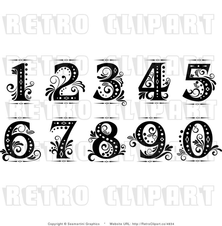 Clipart fancy numbers vector black and white library Fancy number 90 clipart - ClipartFest vector black and white library