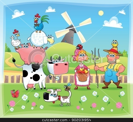 Clipart farm family graphic library download Funny farm family. stock vector graphic library download