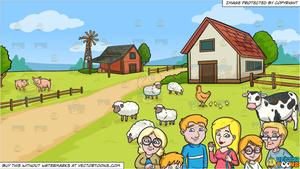 Clipart farm family graphic black and white A Very Nice And Kind Looking Family Of Six and A Farm Background graphic black and white