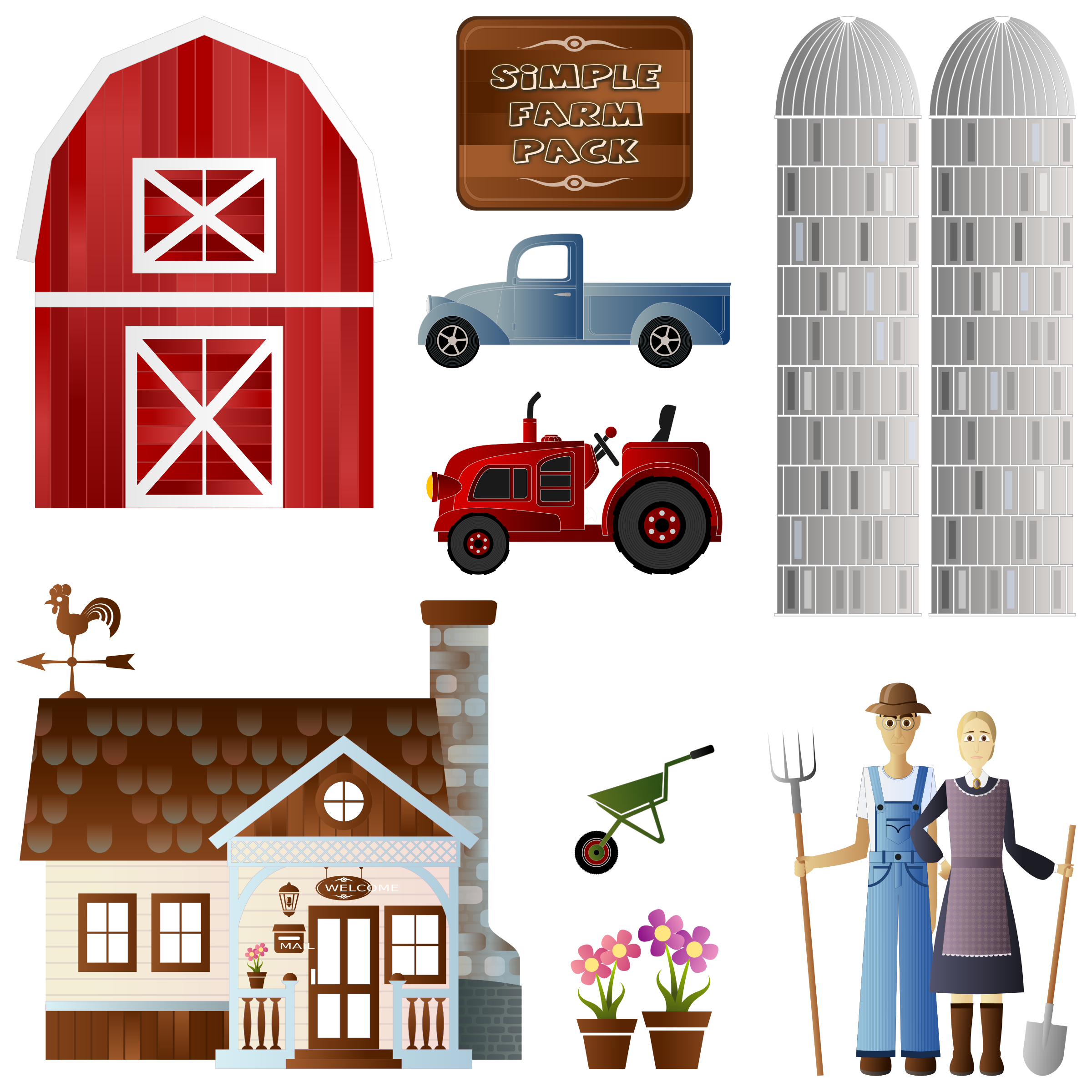 Farm house clipart transparent stock Clipart - Simple Farm Pack transparent stock