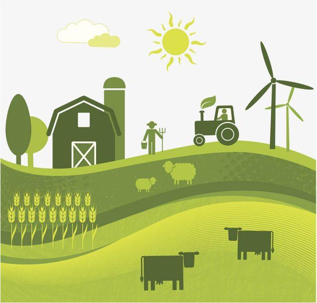 Clipart farmland freeuse Flat Wind Farm Land Illustration, Farm Clipart, Farmland ... freeuse
