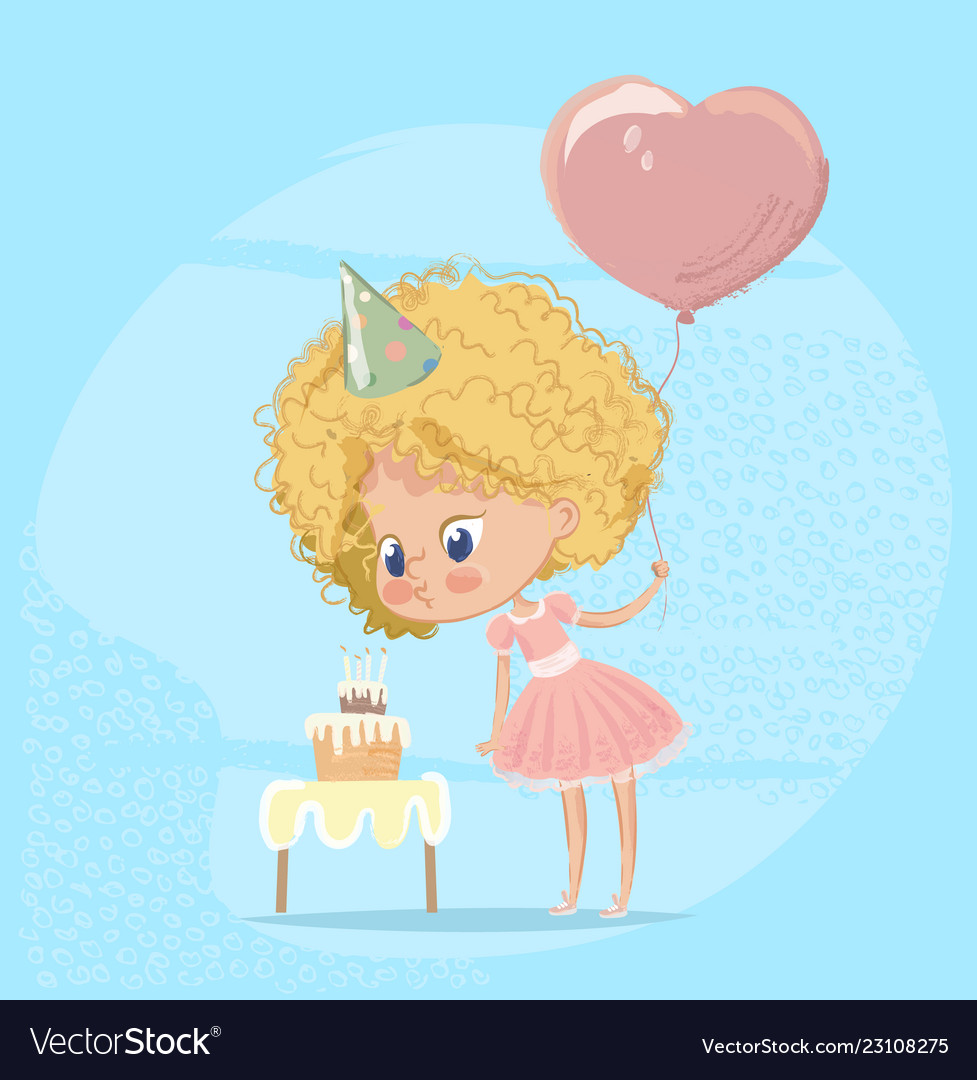 Clipart fat lady blowing out cancles on cake image library download Baby girl blowing birthday cake candle cute blond vector image image library download