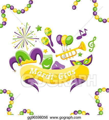 Clipart fat tuesday svg free EPS Illustration - Celebration banner set carnival icons and objects ... svg free