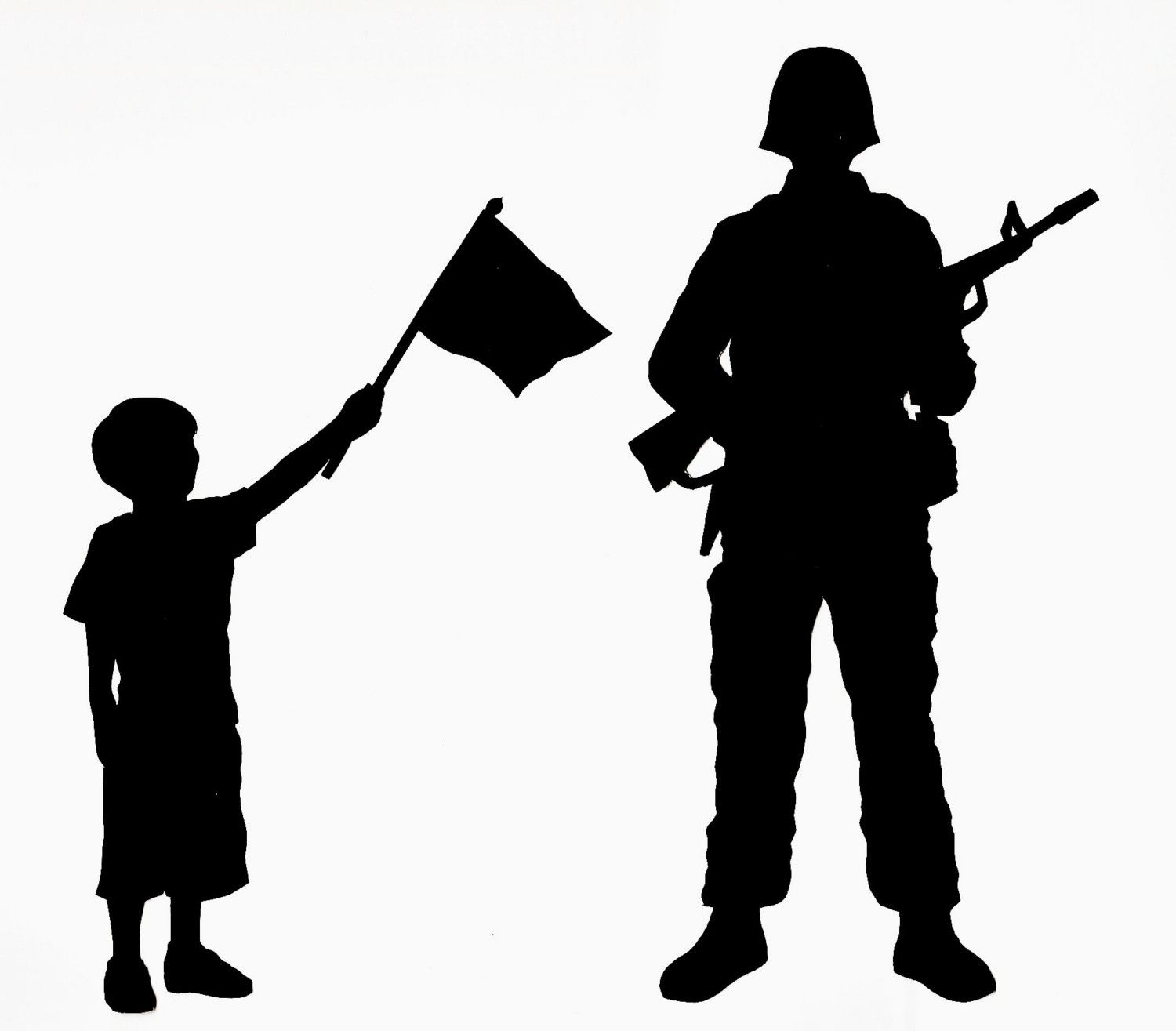 Clipart father and son seperating for army banner black and white library SALE Patriotic Silhouette with one child by silhouettesbycarolin ... banner black and white library
