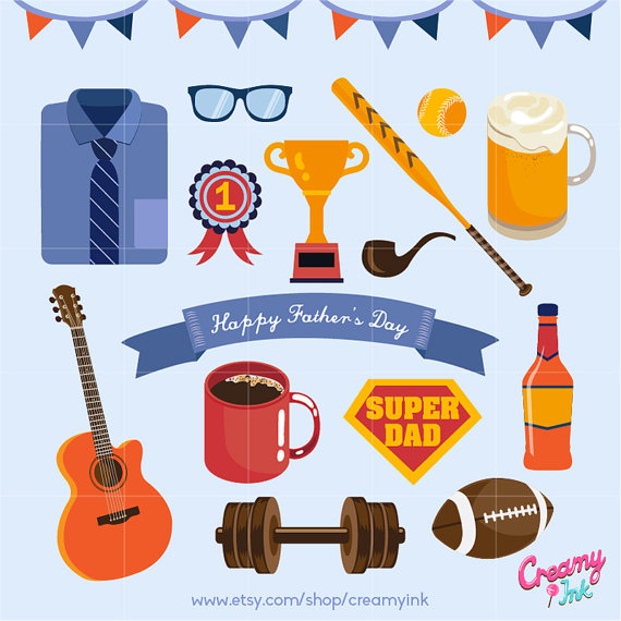 Clipart fathers day clipart banner freeuse Happy Father's Day Digital Vector Clip art / Fathers Day Clipart ... banner freeuse