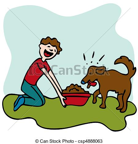 Clipart feed the dog. Kid man feeding food