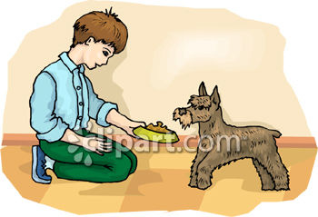 Royalty free image young. Clipart feed the dog