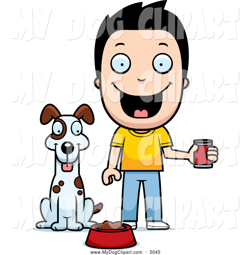 Clipart feeding the dog jpg black and white library Clip Art of a Happy Boy Feeding His Dog Canned Food by Cory Thoman ... jpg black and white library