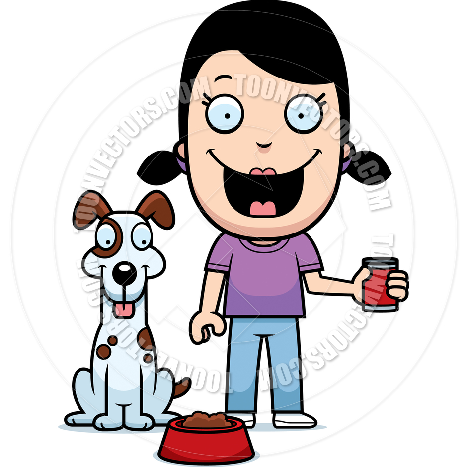 Clipart feeding the dog picture royalty free library Cartoon Girl Feeding Dog by Cory Thoman | Toon Vectors EPS #13276 picture royalty free library