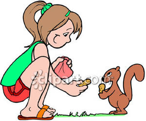 Clipart feeding the dog clip royalty free Girl Feeding Peanuts To a Squirrel - Royalty Free Clipart Picture clip royalty free