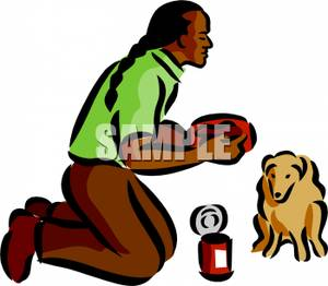 Clipart feeding the dog clip freeuse Native American Man Feeding His Dog - Clipart clip freeuse
