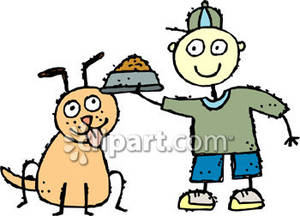 Boy clipartfest stick drawing. Clipart feeding the dog