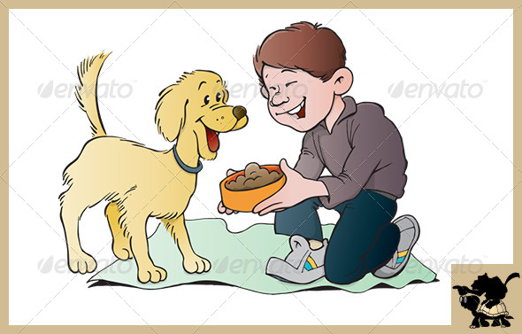 Clipart feeding the dog clipart black and white library Feeding the Dog by TurtleandMonkey | GraphicRiver clipart black and white library