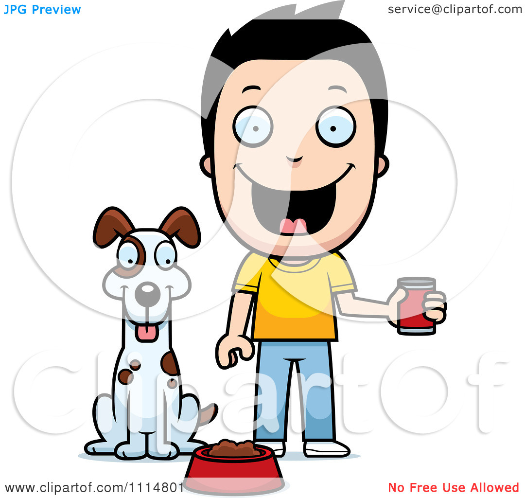 Clipart feeding the dog graphic download Clipart Happy Boy Feeding His Dog - Royalty Free Vector ... graphic download