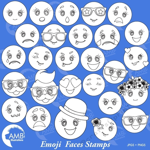 Clipart feelings transparent library EMOJI Clipart Stamps, Emoji Digital Stamps, Smiley Face, Feelings Clipart,  Emoji Clipart, Feelings Clipart, AMB-2251 transparent library