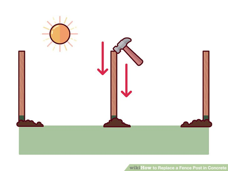 Clipart fence post vector freeuse How to Replace a Fence Post in Concrete: 15 Steps (with Pictures) vector freeuse
