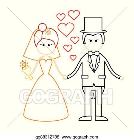 Clipart fiance clip EPS Vector - Cartoon marriage couple fiance and bride wear wedding ... clip