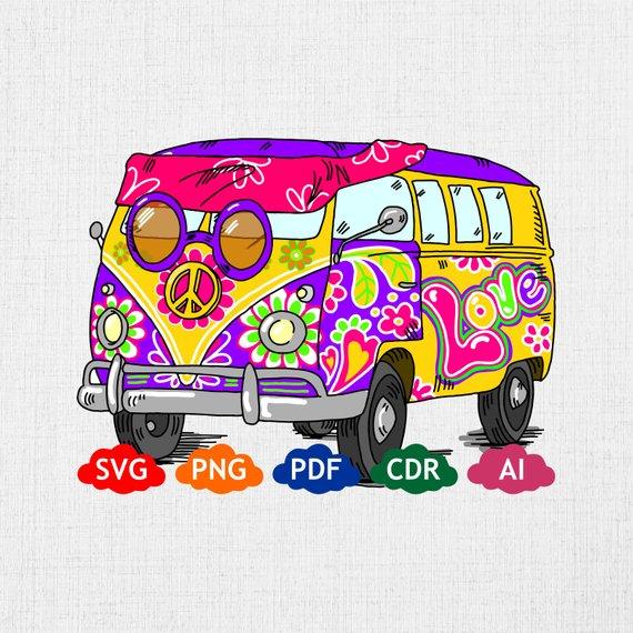 Clipart file format pdf svg free Hippie Van colorful svg vector, digital clipart , t-shirt design ... svg free