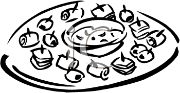 Appetizers and drinks clipart black and white image freeuse download A Platter Of Finger Foods Clipart Image - foodclipart.com image freeuse download