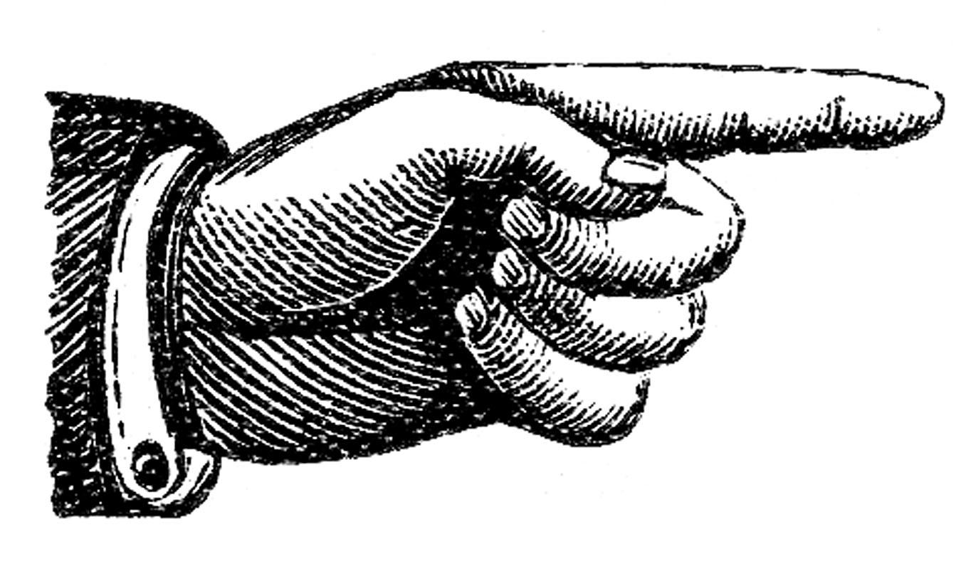 Clipart finger pointing left. Victorian clip art hands