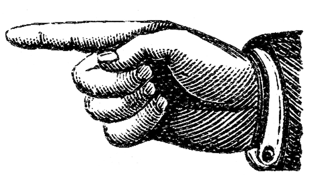 Kid victorian clip art. Clipart finger pointing left