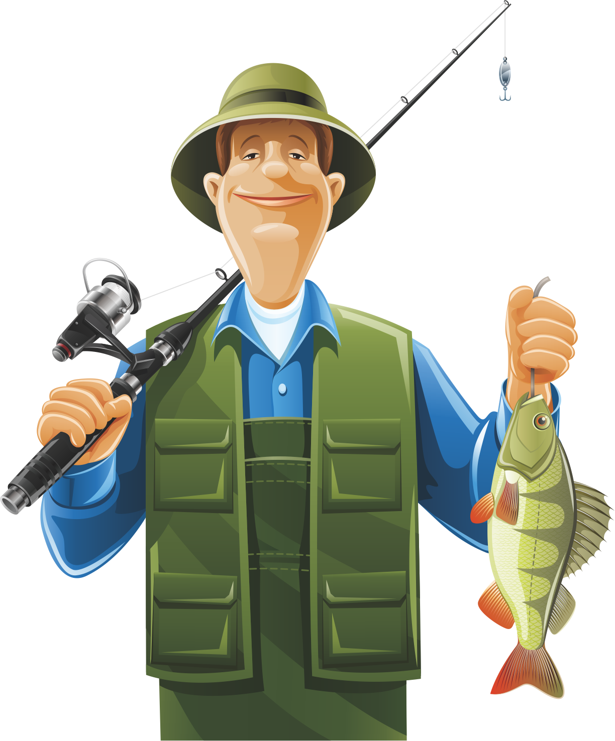 Clipart fish and fishermen png freeuse download Fisherman Fishing rod Clip art - Holding a fishing rod and a fish ... png freeuse download