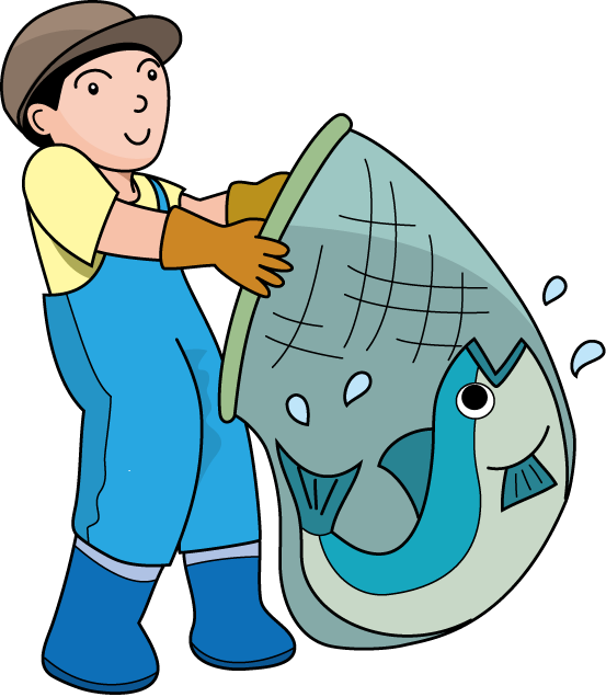 Fishing on clip art. Fish in net clipart
