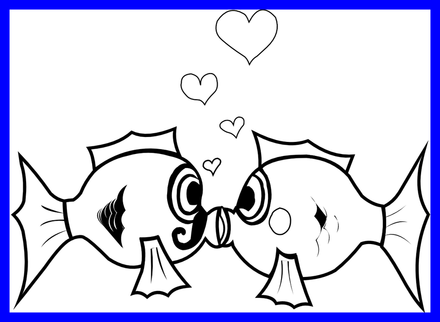 Fish kiss clipart. Incredible kissing black and