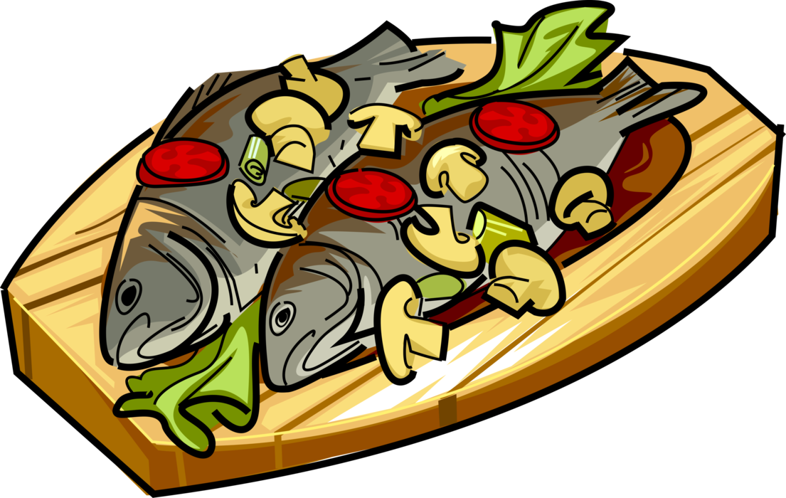 Clipart fish dinners image library download Roast Fish with Mushrooms and Tomato - Vector Image image library download