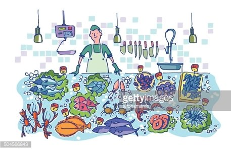 Clipart fish market banner free Man IN A Fish Market With Different Types of Seafood premium clipart ... banner free