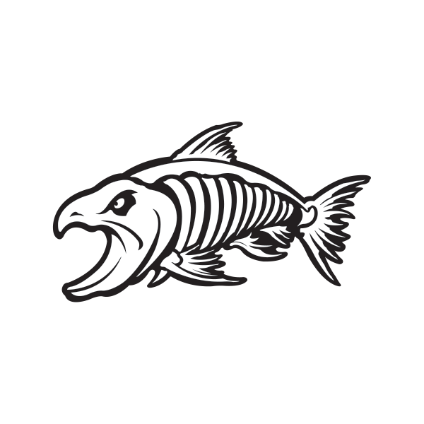 Tribal fish bones clipart clip freeuse Printed vinyl Aggressive Salmon Fish Skeleton | Stickers Factory clip freeuse